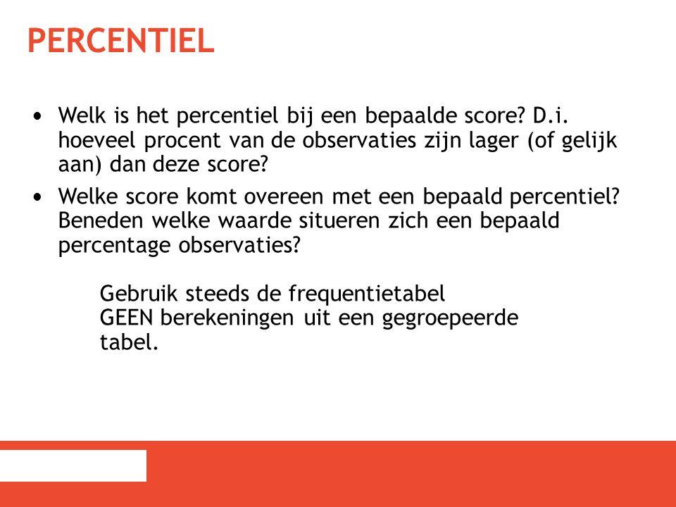 Percentiel Welk is het percentiel bij een bepaalde score D.i. hoeveel procent van de observaties zijn lager (of gelijk aan) dan deze score