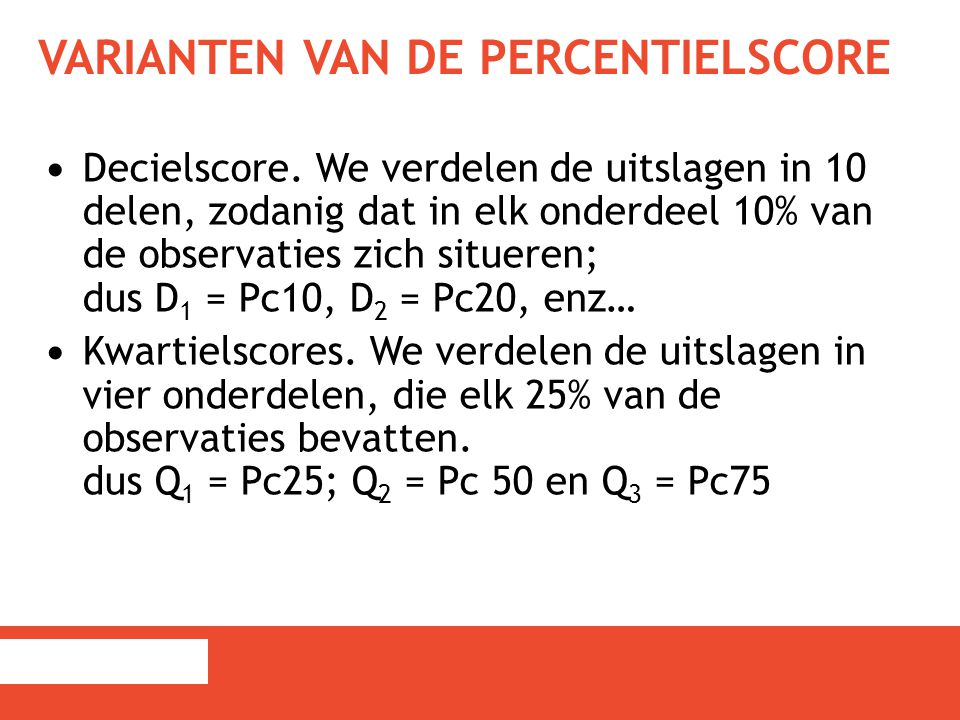 Varianten van de percentielscore