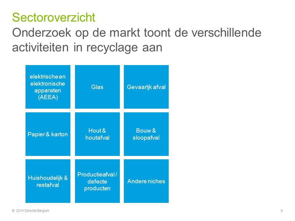 Sectoroverzicht Onderzoek op de markt toont de verschillende activiteiten in recyclage aan. elektrische en elektronische apparaten.