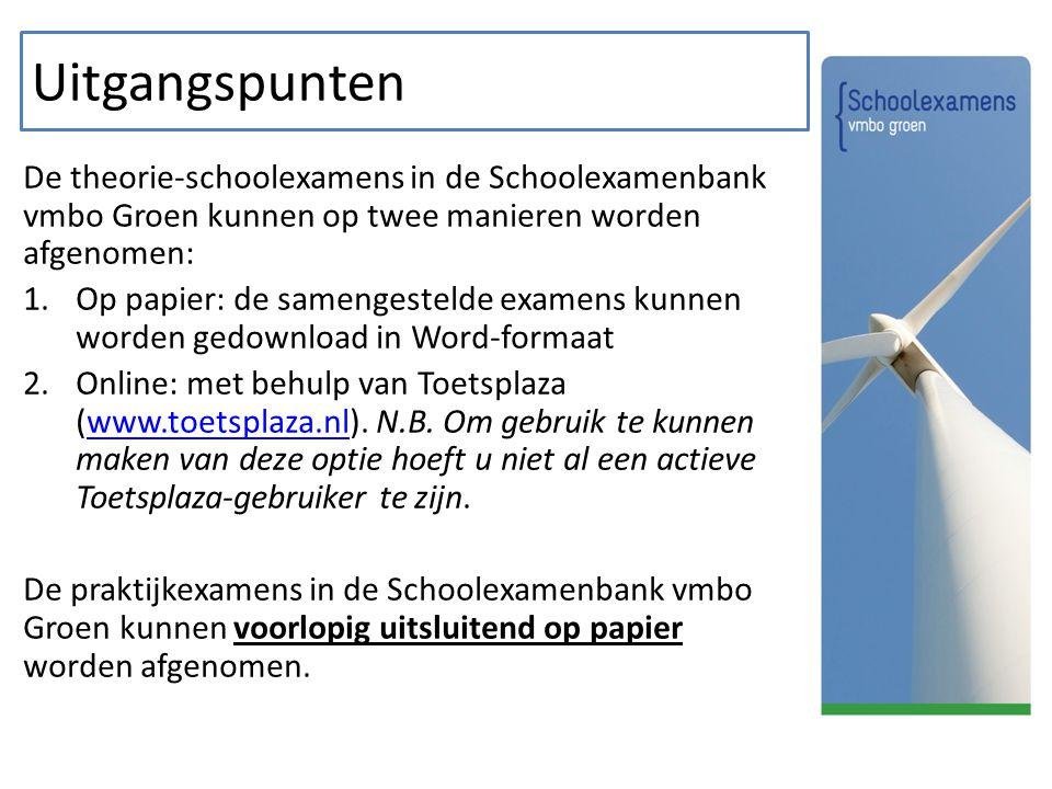 Uitgangspunten De theorie-schoolexamens in de Schoolexamenbank vmbo Groen kunnen op twee manieren worden afgenomen: