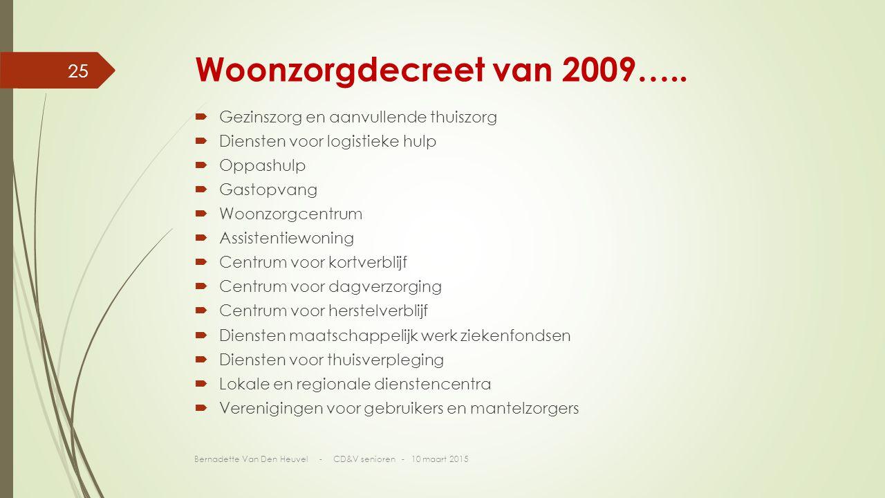 Woonzorgdecreet van 2009….. Gezinszorg en aanvullende thuiszorg