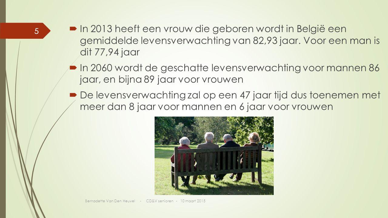 In 2013 heeft een vrouw die geboren wordt in België een gemiddelde levensverwachting van 82,93 jaar. Voor een man is dit 77,94 jaar