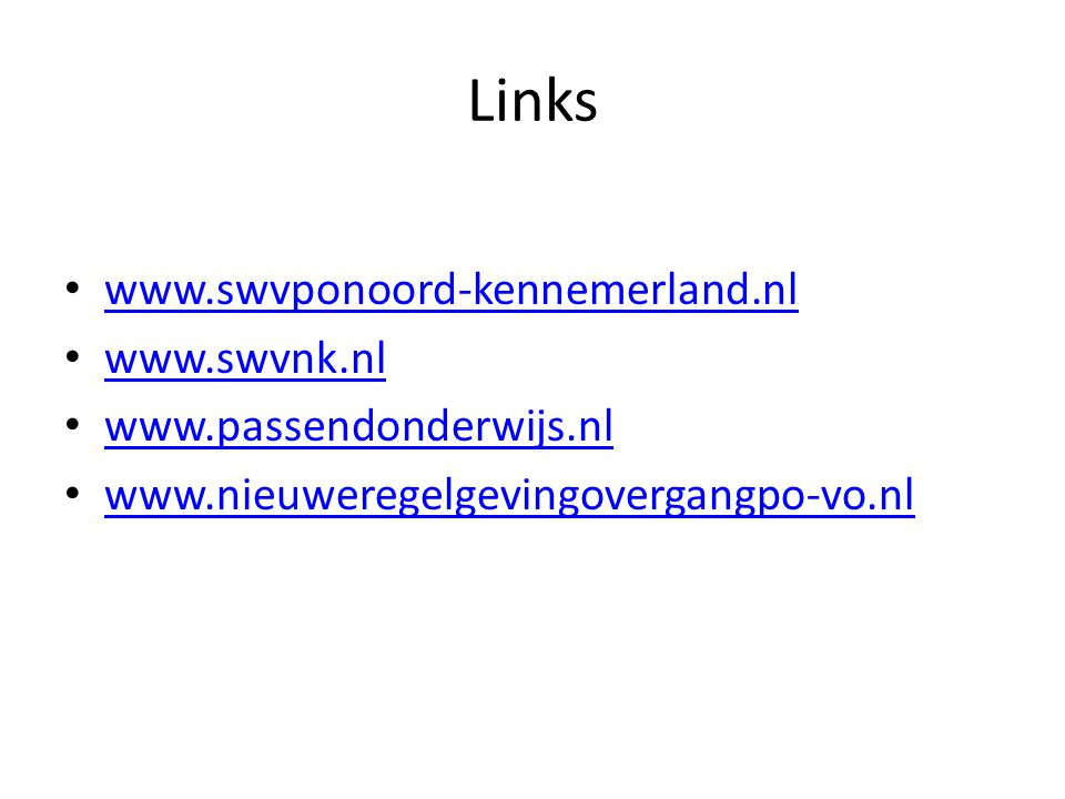 Links www.swvponoord-kennemerland.nl www.swvnk.nl