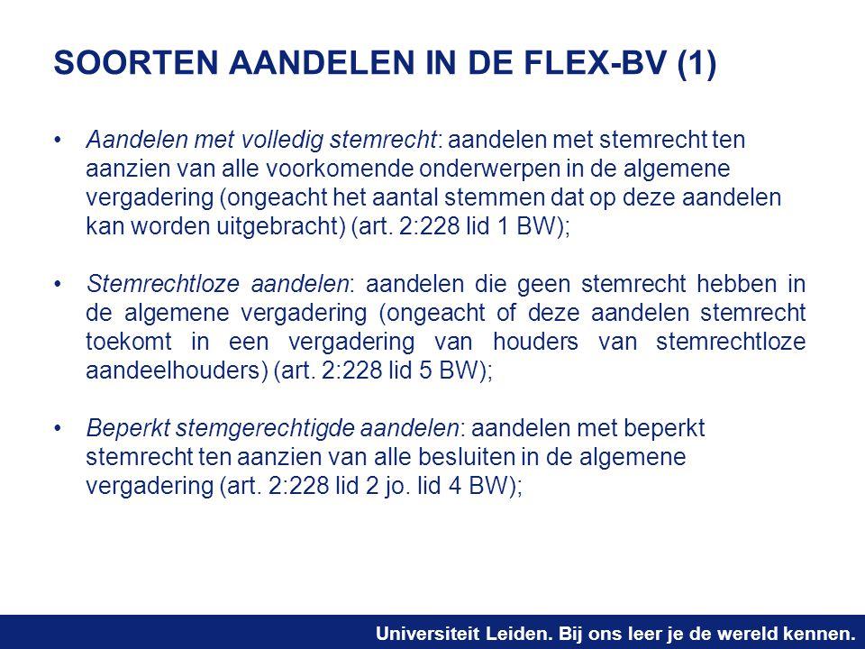 SOORTEN AANDELEN IN DE FLEX-BV (1)