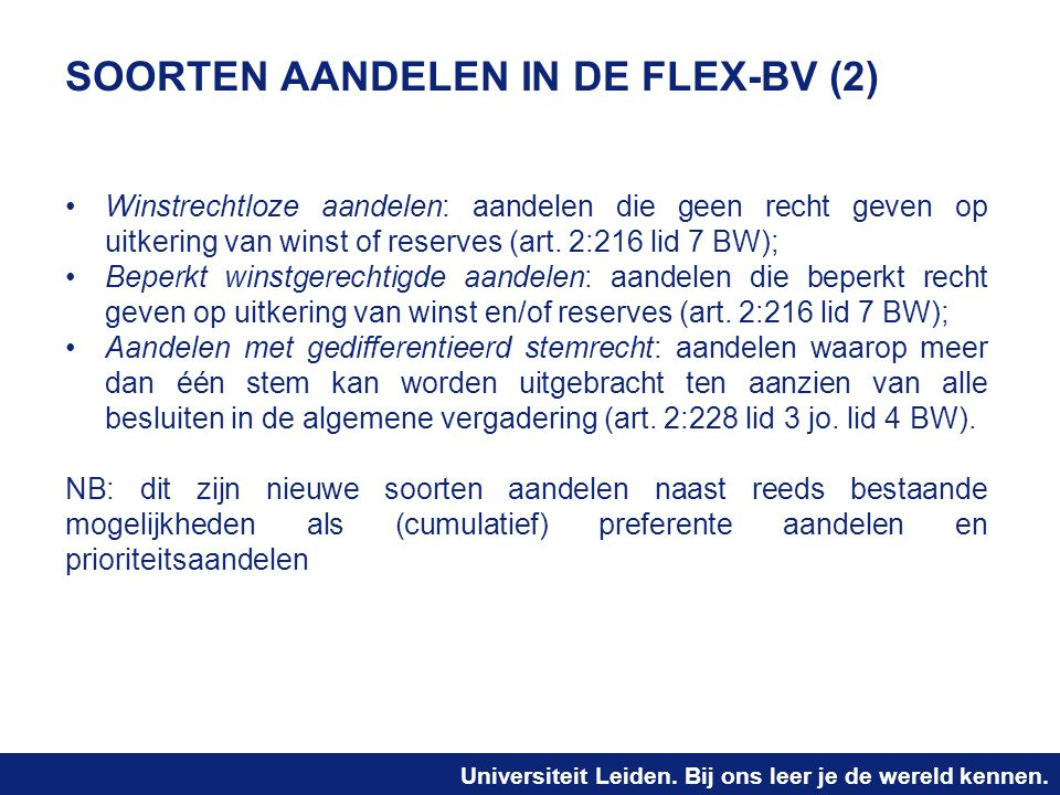 SOORTEN AANDELEN IN DE FLEX-BV (2)