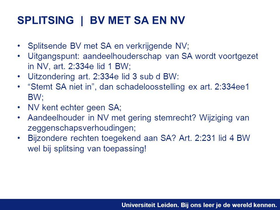 SPLITSING | BV MET SA EN NV