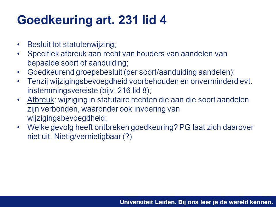 Goedkeuring art. 231 lid 4 Besluit tot statutenwijzing;