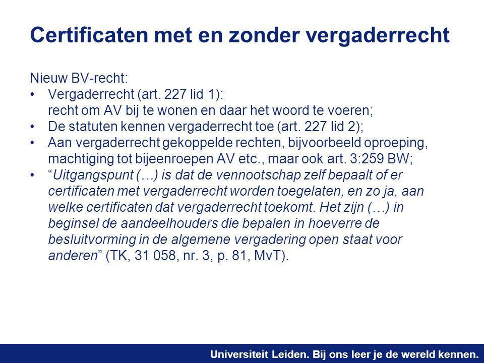 Certificaten met en zonder vergaderrecht