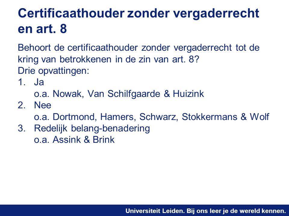 Certificaathouder zonder vergaderrecht en art. 8