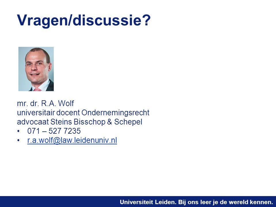 Vragen/discussie mr. dr. R.A. Wolf