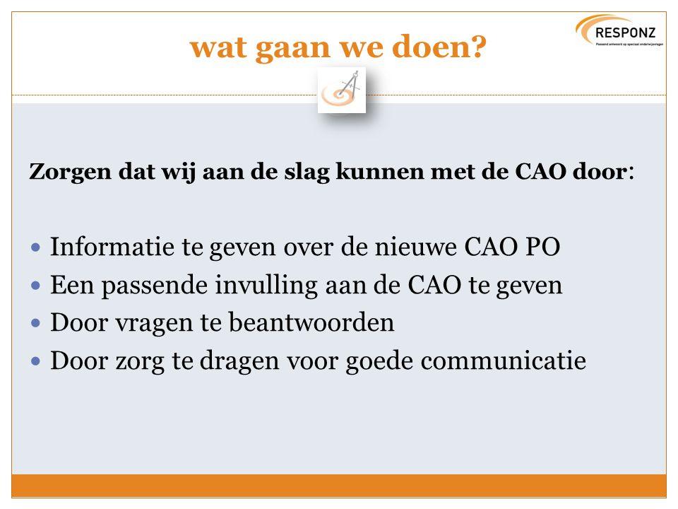 wat gaan we doen Informatie te geven over de nieuwe CAO PO