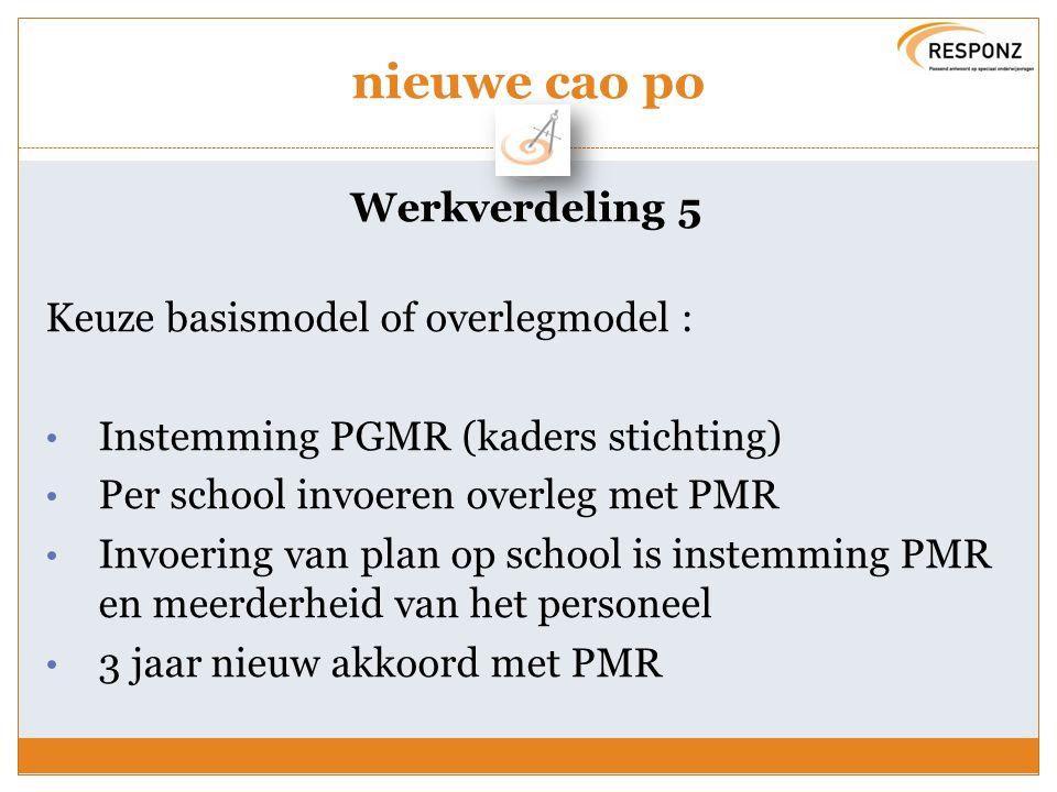 nieuwe cao po Werkverdeling 5 Keuze basismodel of overlegmodel :