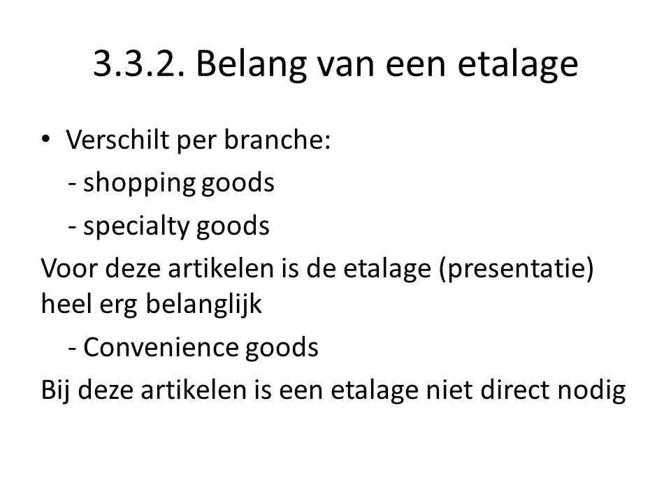 3.3.2. Belang van een etalage Verschilt per branche: - shopping goods