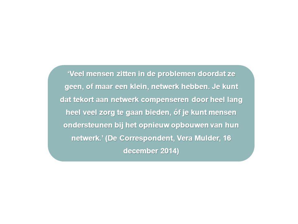 'Veel mensen zitten in de problemen doordat ze geen, of maar een klein, netwerk hebben.