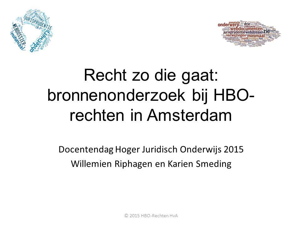 Recht zo die gaat: bronnenonderzoek bij HBO-rechten in Amsterdam