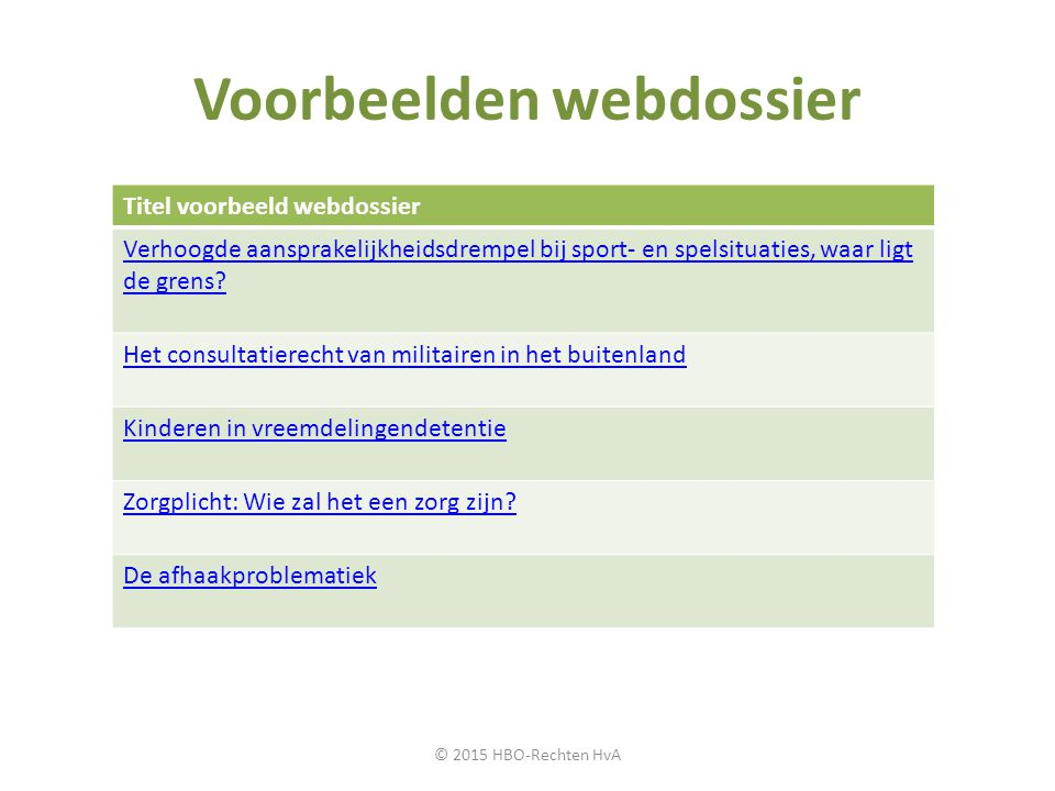 Voorbeelden webdossier