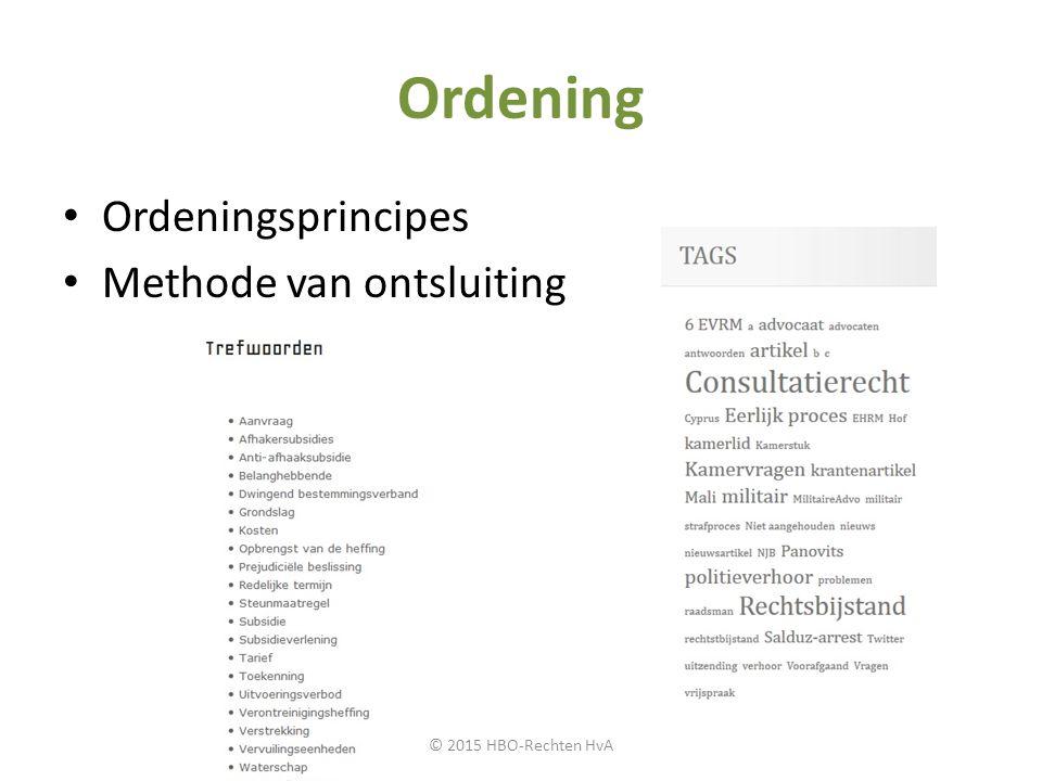 Ordening Ordeningsprincipes Methode van ontsluiting