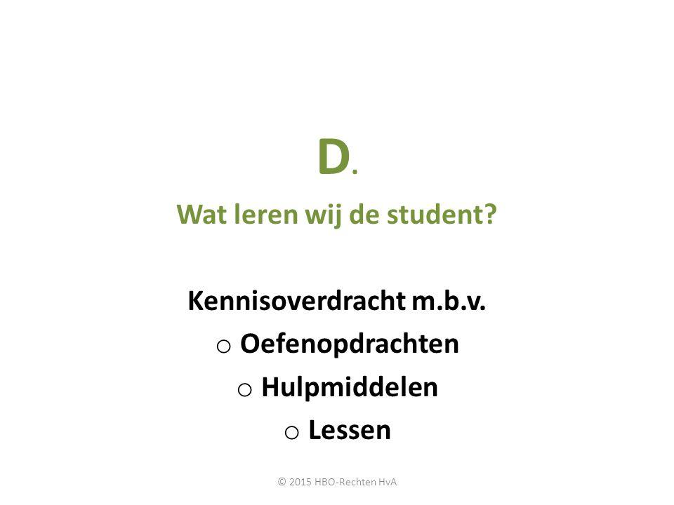 Wat leren wij de student