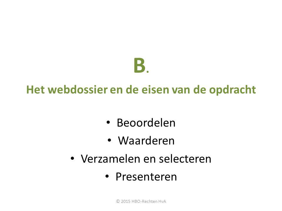 Het webdossier en de eisen van de opdracht