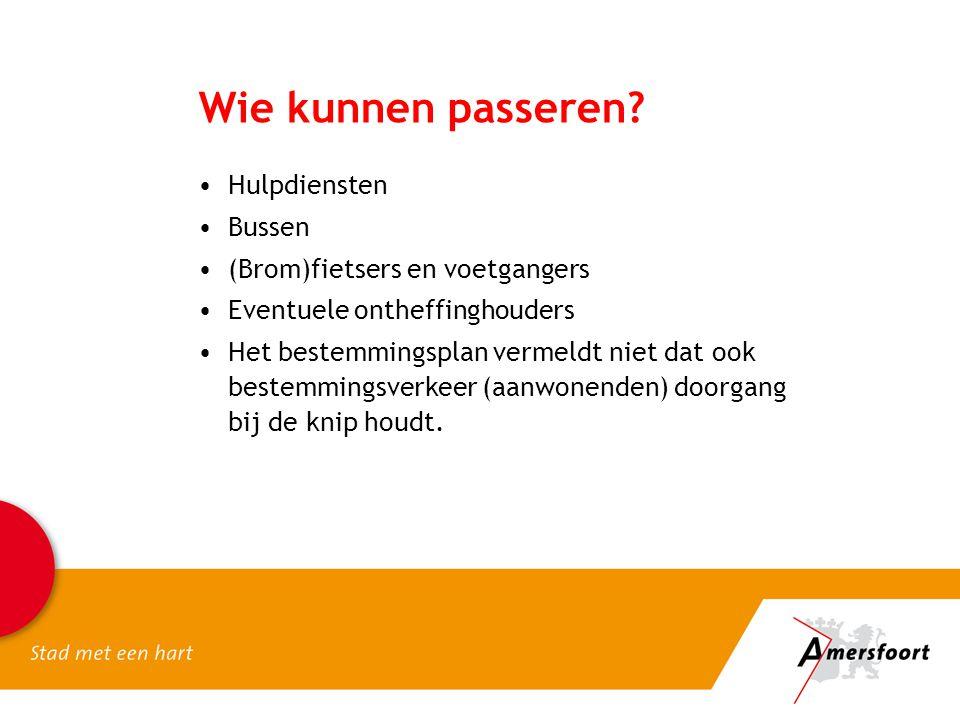 Wie kunnen passeren Hulpdiensten Bussen (Brom)fietsers en voetgangers