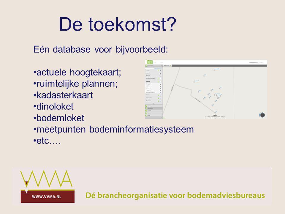De toekomst Eén database voor bijvoorbeeld: actuele hoogtekaart;