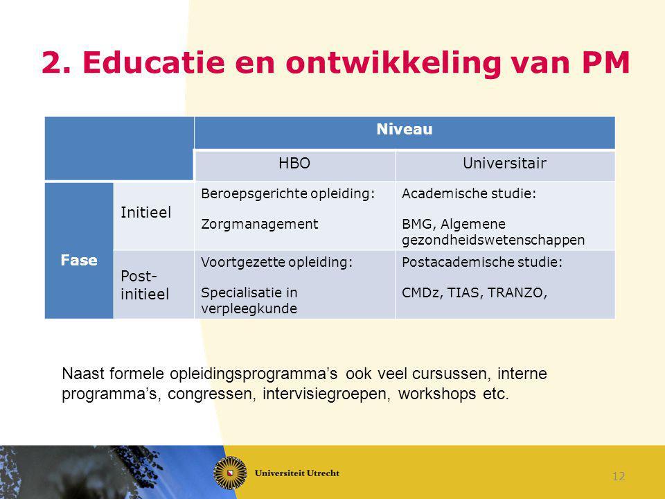 2. Educatie en ontwikkeling van PM
