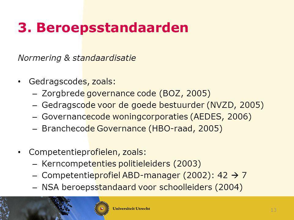 3. Beroepsstandaarden Normering & standaardisatie Gedragscodes, zoals: