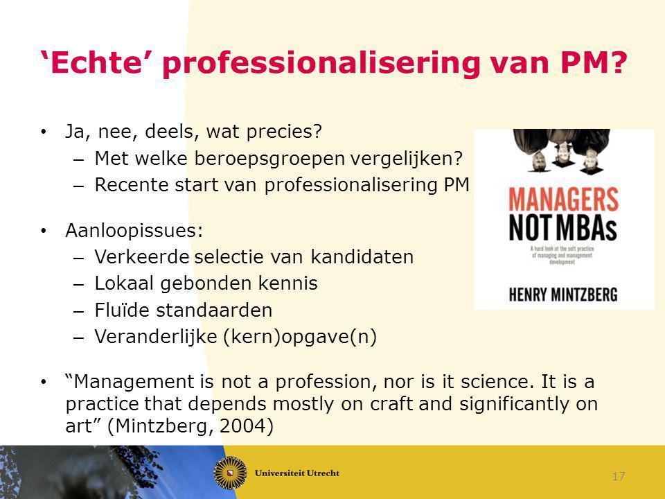 'Echte' professionalisering van PM