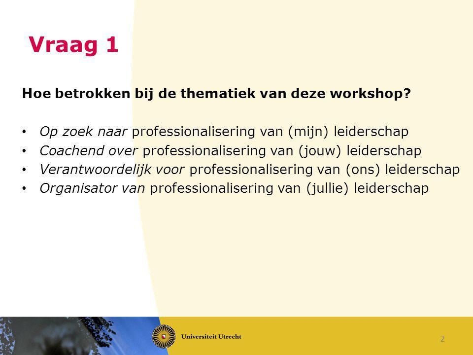 Vraag 1 Hoe betrokken bij de thematiek van deze workshop