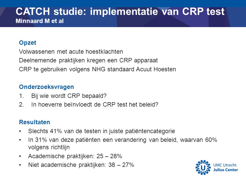 CATCH studie: implementatie van CRP test Minnaard M et al