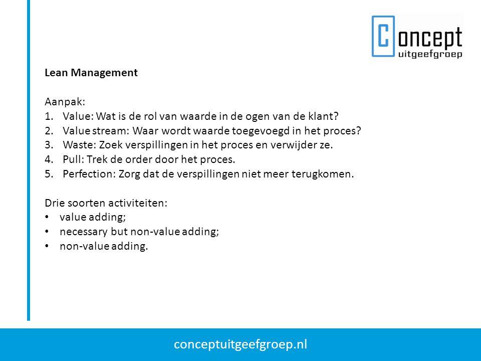 Lean Management Aanpak: Value: Wat is de rol van waarde in de ogen van de klant Value stream: Waar wordt waarde toegevoegd in het proces