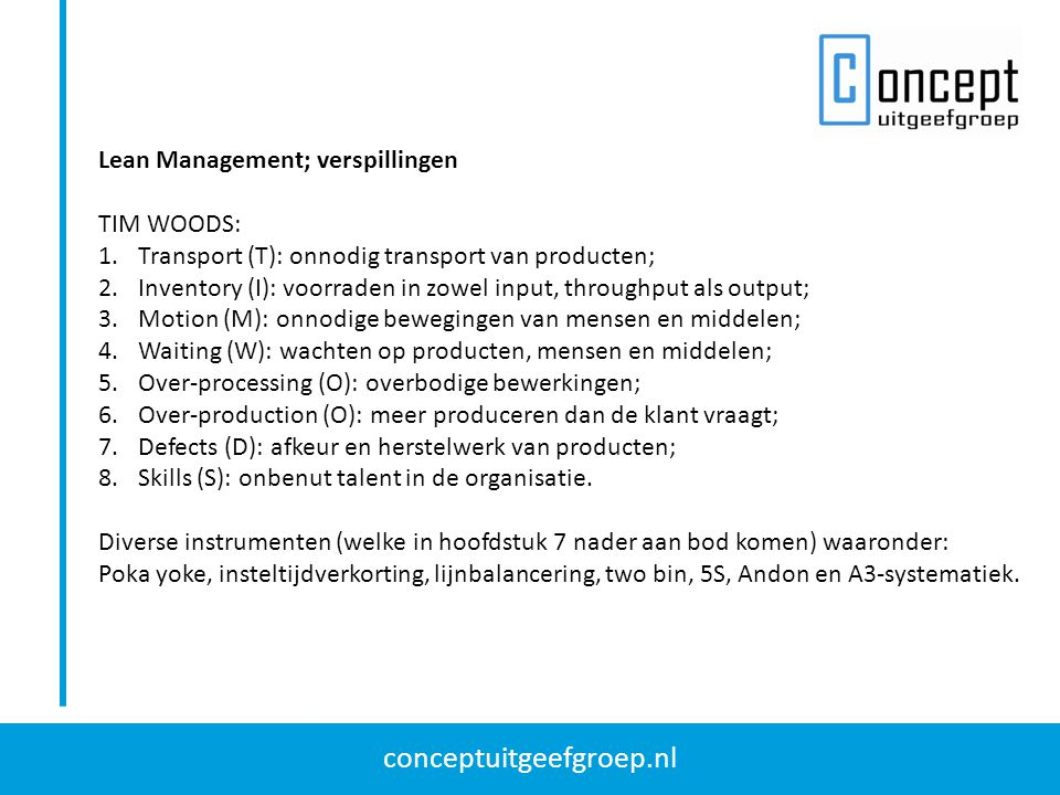 Lean Management; verspillingen