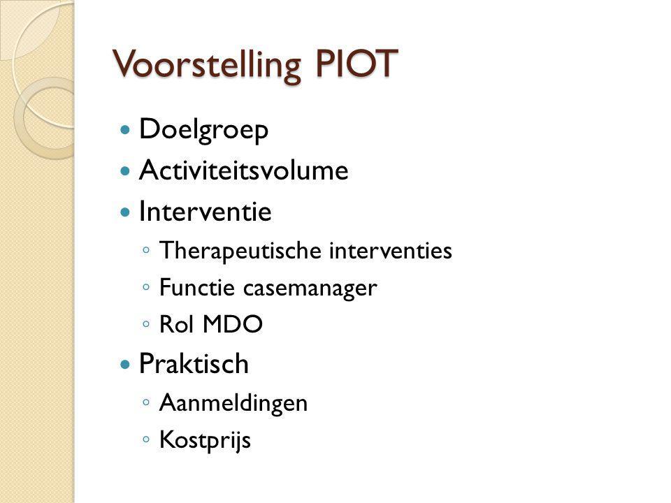 Voorstelling PIOT Doelgroep Activiteitsvolume Interventie Praktisch