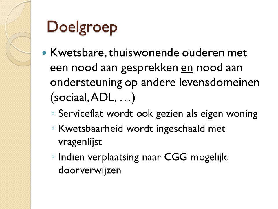 Doelgroep Kwetsbare, thuiswonende ouderen met een nood aan gesprekken en nood aan ondersteuning op andere levensdomeinen (sociaal, ADL, …)