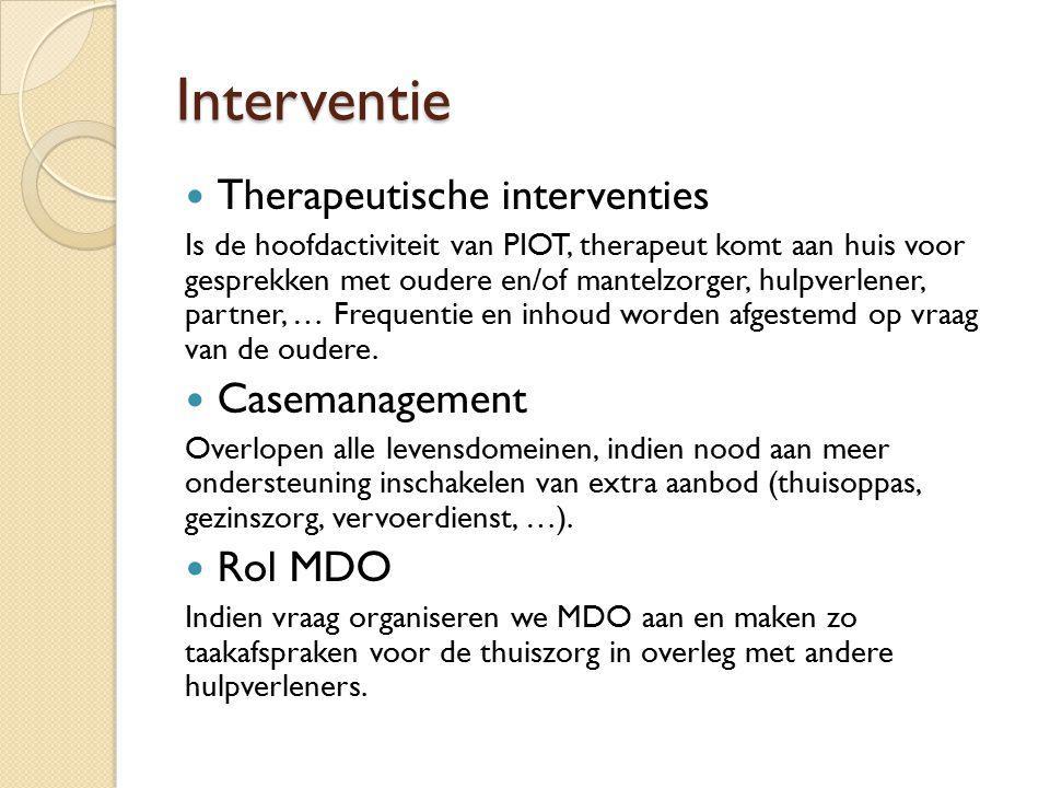 Interventie Therapeutische interventies Casemanagement Rol MDO