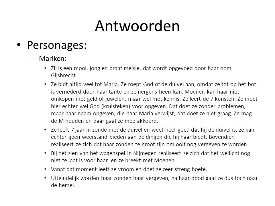 Antwoorden Personages: Mariken:
