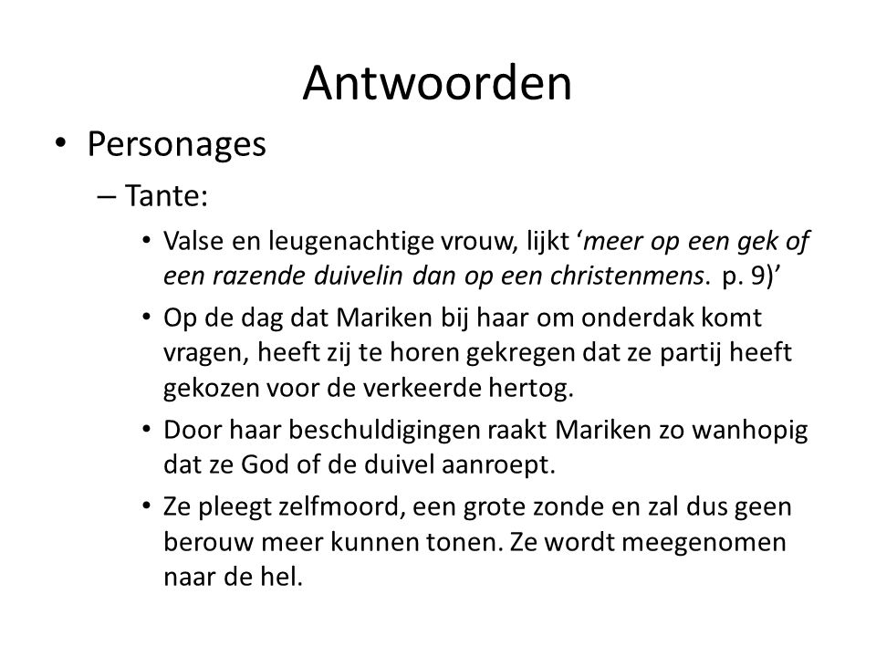 Antwoorden Personages Tante: