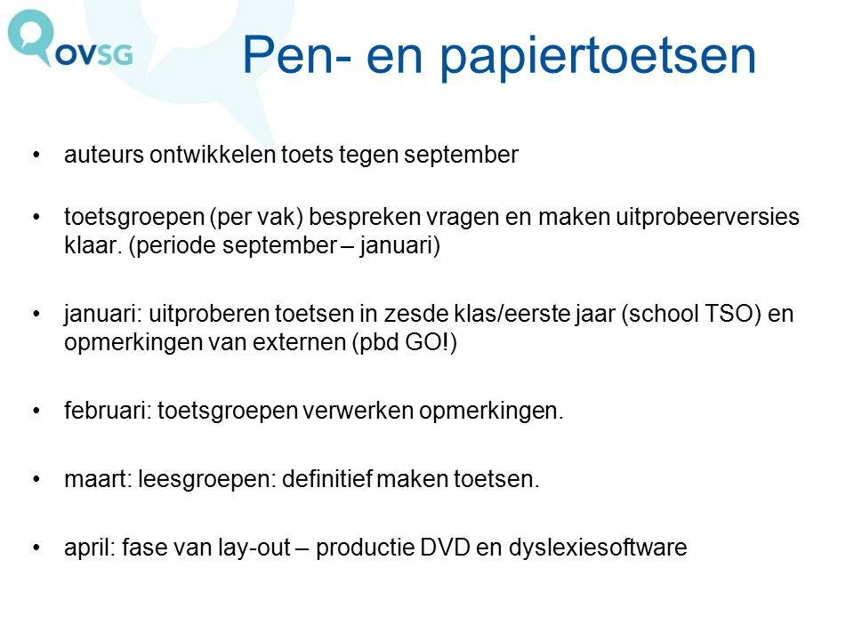 Pen- en papiertoetsen auteurs ontwikkelen toets tegen september