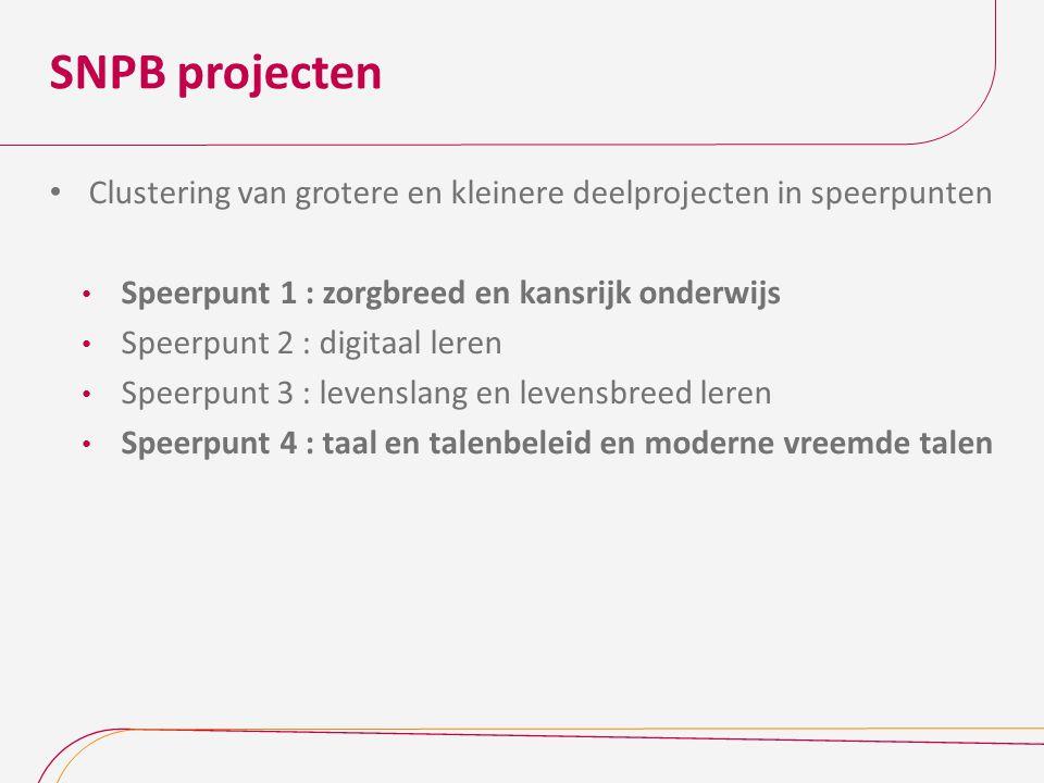 SNPB projecten Clustering van grotere en kleinere deelprojecten in speerpunten. Speerpunt 1 : zorgbreed en kansrijk onderwijs.