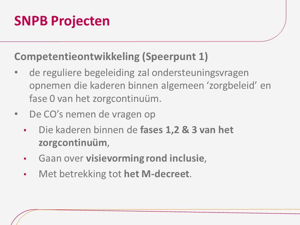 SNPB Projecten Competentieontwikkeling (Speerpunt 1)