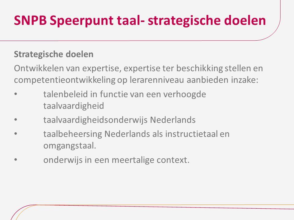 SNPB Speerpunt taal- strategische doelen