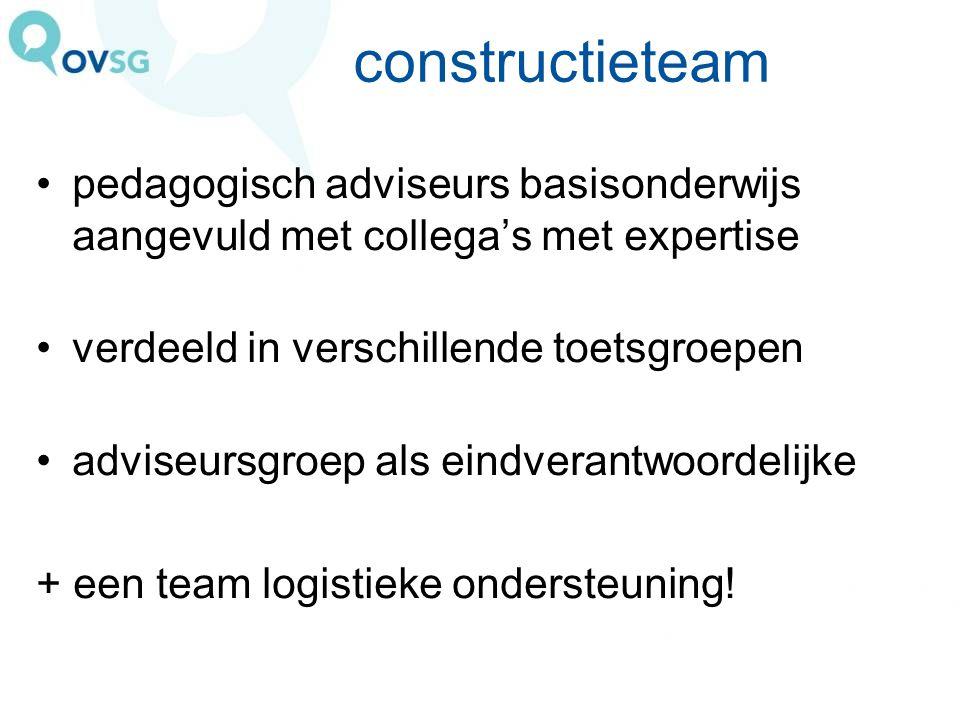 constructieteam pedagogisch adviseurs basisonderwijs aangevuld met collega's met expertise. verdeeld in verschillende toetsgroepen.
