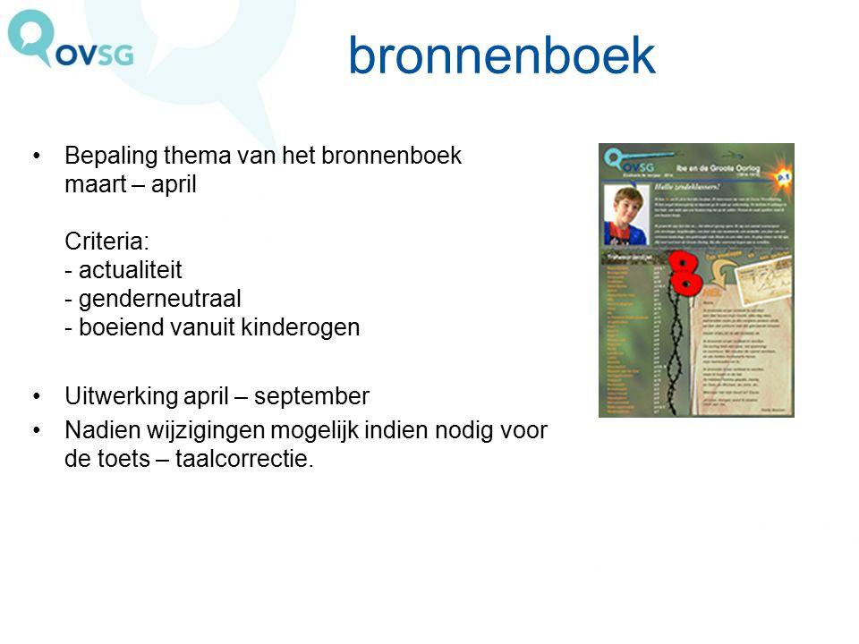 bronnenboek Bepaling thema van het bronnenboek maart – april Criteria: - actualiteit - genderneutraal - boeiend vanuit kinderogen.
