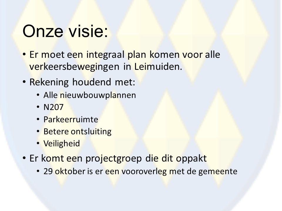 Onze visie: Er moet een integraal plan komen voor alle verkeersbewegingen in Leimuiden. Rekening houdend met: