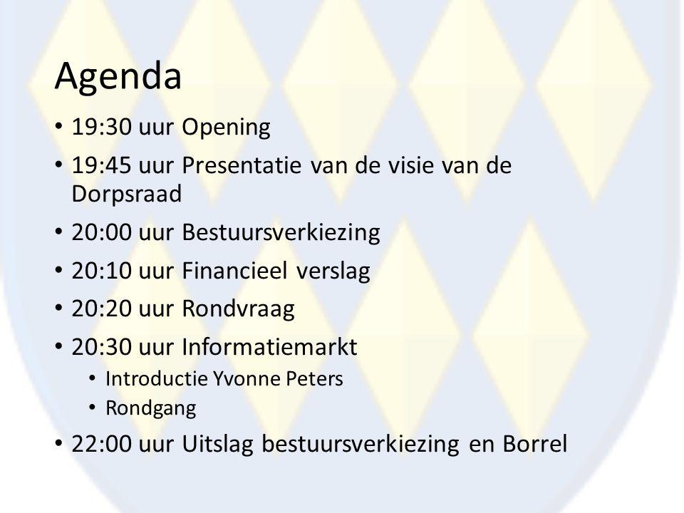 Agenda 19:30 uur Opening. 19:45 uur Presentatie van de visie van de Dorpsraad. 20:00 uur Bestuursverkiezing.