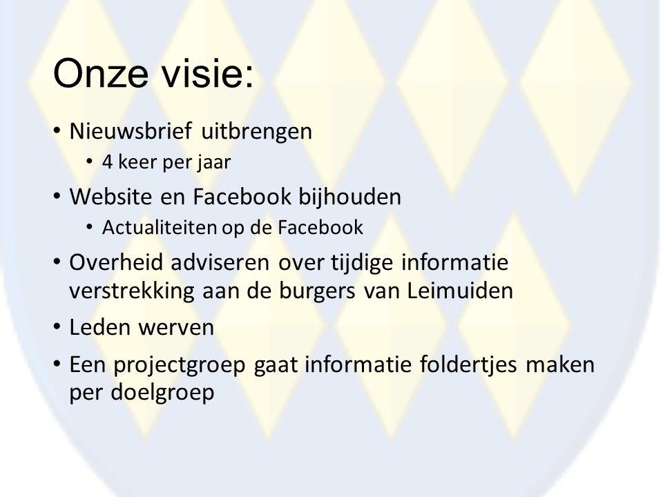 Onze visie: Nieuwsbrief uitbrengen Website en Facebook bijhouden