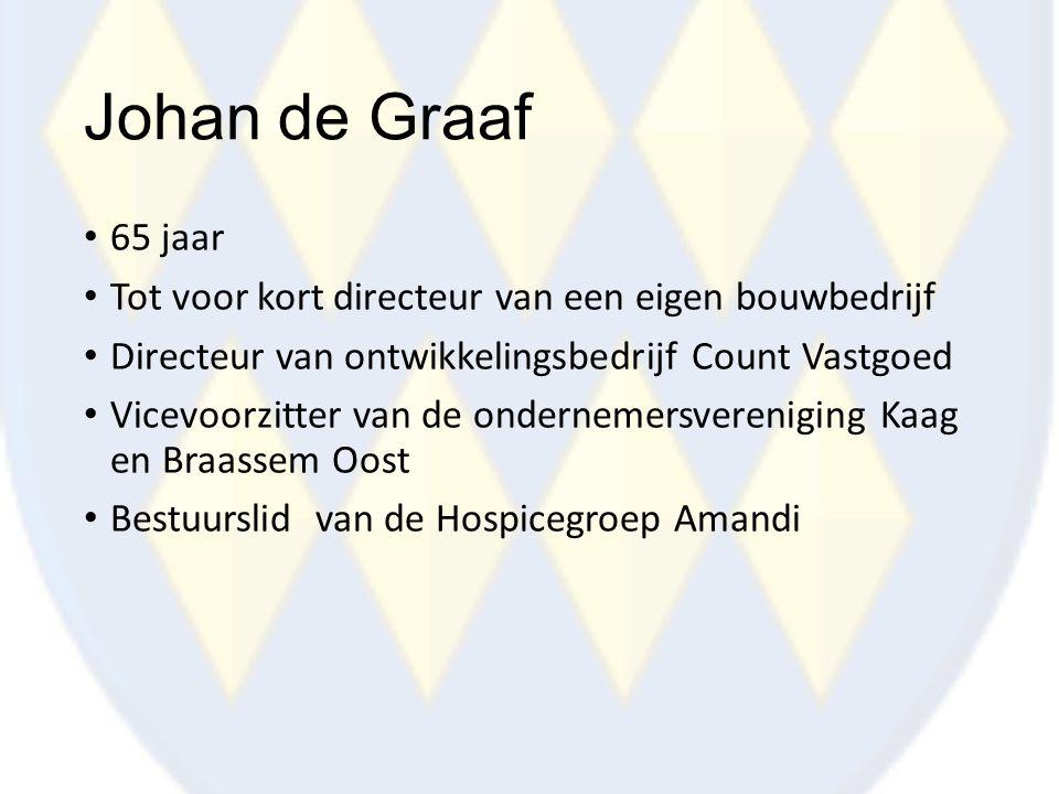 Johan de Graaf 65 jaar. Tot voor kort directeur van een eigen bouwbedrijf. Directeur van ontwikkelingsbedrijf Count Vastgoed.