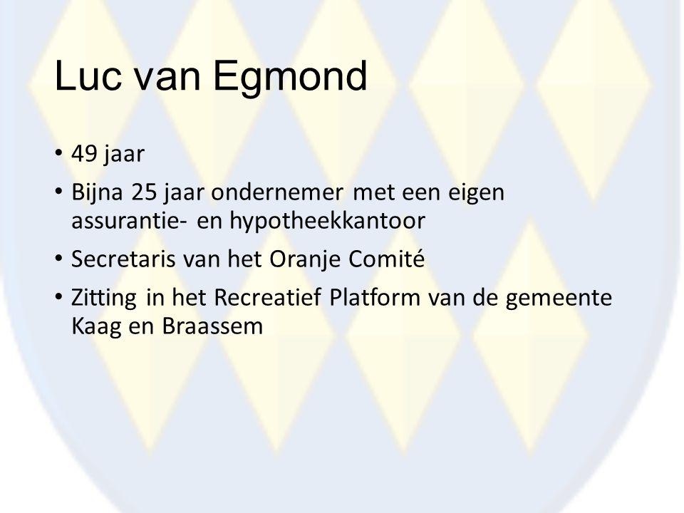 Luc van Egmond 49 jaar. Bijna 25 jaar ondernemer met een eigen assurantie- en hypotheekkantoor. Secretaris van het Oranje Comité.