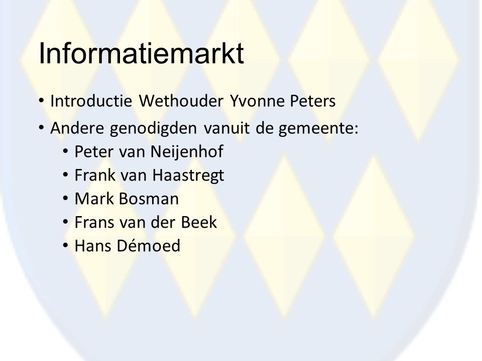 Informatiemarkt Introductie Wethouder Yvonne Peters