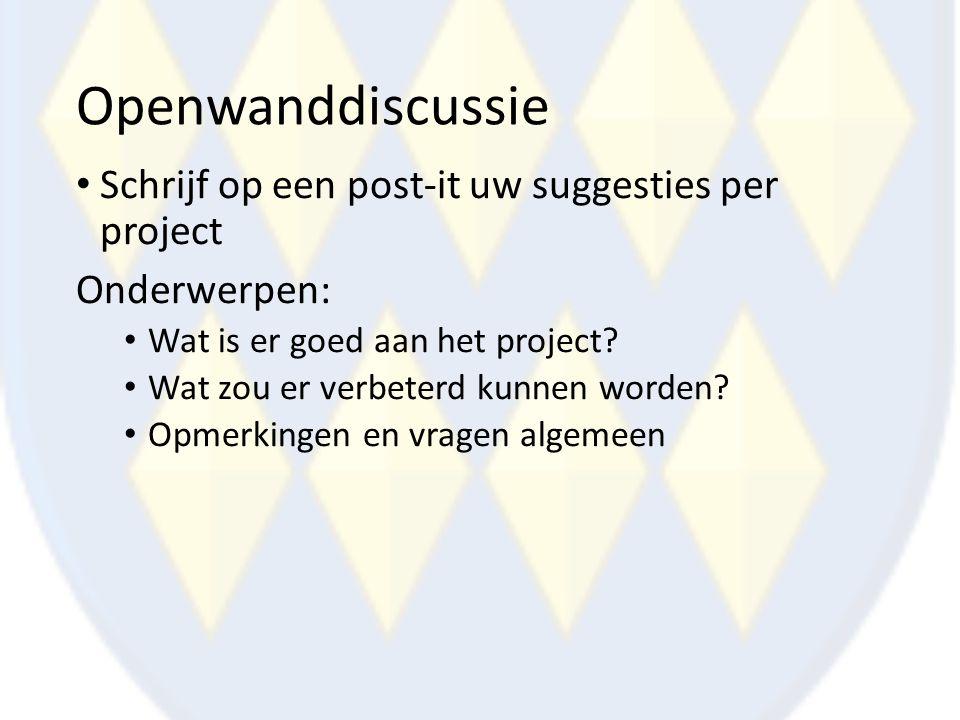 Openwanddiscussie Schrijf op een post-it uw suggesties per project